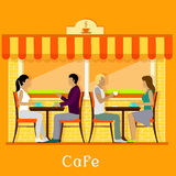 Facade Urban Cafe with Customers Royalty Free Stock Image