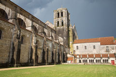 Facade of Vezelay Cathedral, France. The lateral facade of Vezelay Cathedral, Burgundy, France Royalty Free Stock Photography