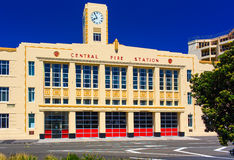 Facade view of the Central Fire Station building. Kent Terrace street. Wellington city, New Zealand. Stock Images