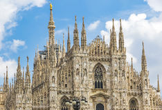 Facade view of Duomo di Milano Milan Cathedral, Italy Royalty Free Stock Images