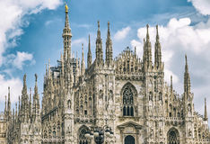 Facade view of Duomo di Milano Milan Cathedral, Italy Royalty Free Stock Photo