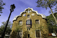 Facade view of gingerbread House of architect Gaudi in Park Guell, Barcelona, Spain 2015 Stock Photo