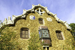 Facade view of gingerbread House of architect Gaudi and Park Guell in Barcelona Stock Photography
