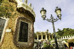 Facade view of gingerbread House of architect Gaudi in Park Guell Barcelona Stock Photo