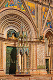 Facade view of the opulent and monumental Orvieto Cathedral in Orvieto. Stock Images