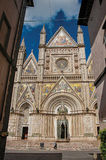 Facade view of the opulent and monumental Orvieto Cathedral in Orvieto. Orvieto, Italy - May 17, 2013. Facade view of the opulent and monumental Orvieto Stock Photos