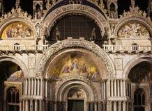 Facade view of Saint Mark`s Basilica San Marco royalty free stock image