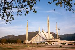 Shah Faisal Mosque Islamabad Pakistan. Facade view of Shah Faisal Mosque the landmark and largest mosque of south asia located in Islamabad Pakistan Royalty Free Stock Photos