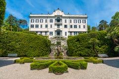 Villa Carlotta Tremezzo on lake Como Italy. Facade of Villa Carlotta at Tremezzo on lake Como Italy royalty free stock image