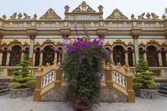 Facade of the Vinh Trang Buddhist Pagoda in Vietnam. Stock Images
