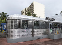 Facade of vintage fast food restaurant the Diner in Miami, USA Royalty Free Stock Photo