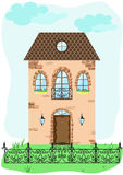 Facade of vintage house with decorative fence. Retro vector illustration Stock Photography