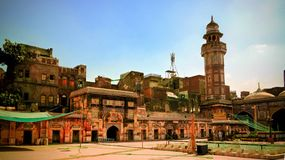 Facade of Wazir Khan Mosque, Lahore, Pakistan stock photography