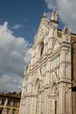 Facade of the western entrance Basilica di Santa Crocei in Florence Firenze, Tuscany, Toscana, Italy. The Basilica of Santa Croce in the homonymous square in stock image