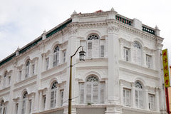 The facade of White Houses in Chinatown, Singapore Royalty Free Stock Photo