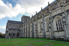 Facade of Winchester Cathedral in England Stock Images