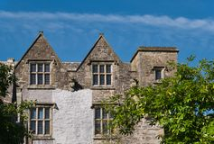 A facade with window of the Donegal Castle. View of Donegal Castle in Ireland with gable and window on a sunny day stock photo