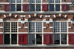 Facade with window shutters in Leiden, Netherlands Royalty Free Stock Photography