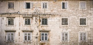 Facade and windows. From  Narodni trg square in Split, Croatia Royalty Free Stock Photo
