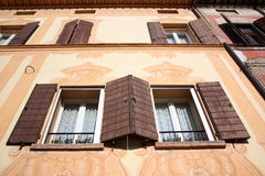 Facade with windows. The old facade with windows Royalty Free Stock Images