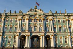 Facade of the Winter Palace, house of the Hermitage Museum, iconic landmark in St. Petersburg, Russia. Royalty Free Stock Images