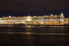 Facade of the Winter Palace from the Neva on the August night. Saint Petersburg Royalty Free Stock Images