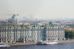 The facade of the Winter Palace, Saint Petersburg, Russia. The Winter Palace was the official residence of the Russian monarchs. Today, the restored palace forms royalty free stock image