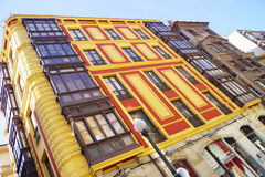 Facade yellow and red. Building with facade red and yellow in an Asturian town Royalty Free Stock Photos