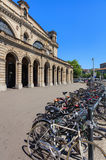 Facade of the Zurich main railway station, bicycles parked in front of it Stock Images