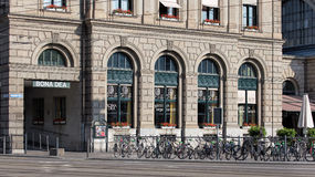 Facade of the Zurich main railway station building Stock Images