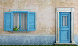 Facadel of an old house. Detail of an old house with blue wooden windows and front door - rendering Stock Photography