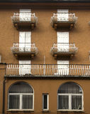 Facades and balconies, Cortina dAmpezzo, Italy royalty free stock photo