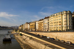Facades of Budapest by the Danube Stock Photography