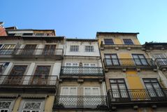 Facades of buildings in colonial style, portugal. Facades of buildings in colonial style Stock Photo