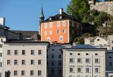 Facades of buildings in the historic centre of Salzburg. Royalty Free Stock Photos