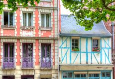 Facades of buildings in Rouen. View on facades of houses in Rouen, France Stock Photography