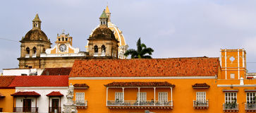 Facades of Cartagena de Indias, Colombia. Facades and roofs of colonial buildings of Cartagena de Indias, Colombia. UNESCO world heritage site Stock Photography