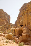 Facades carved into the rock face, Petra, Jordan. Royalty Free Stock Image