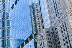 Facades of Chicago Loop. Chicago, USA - May 24, 2014: Facades of several Buildings at West Wacker Drive with different architectural styles Royalty Free Stock Image