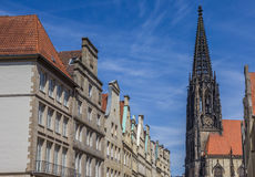 Facades and church tower at the Principal market square in Munst Stock Images