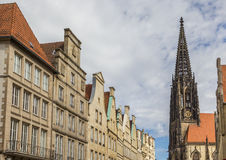 Facades and church tower at the Principal market square in Munst Stock Photo