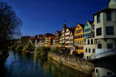 Facades Cityscape of Tubingen Schwarzwald germany. Facades Cityscape of Tubingen from a bridge over the Stauwher river Schwarzwald germany royalty free stock image