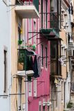 Facades of classic European apartment buildings in old town stre Royalty Free Stock Image