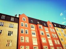 Facades of colorful buildings in Stockholm Stock Photography