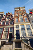 Facades of colorful living houses in Amsterdam Royalty Free Stock Photos