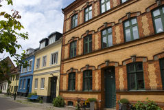 Facades of colorful scandinavian houses Stock Photography