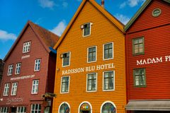 BERGEN, NORWAY - AUGUST 2017: Facades of the colorful wooden houses in Bergen. Famous colored houses and street in Bergen Norway -. Facades of the colorful Royalty Free Stock Photo