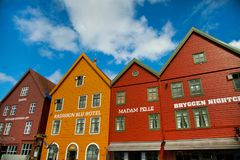 BERGEN, NORWAY - AUGUST 2017: Facades of the colorful wooden houses in Bergen. Famous colored houses and street in Bergen Norway -. Facades of the colorful Stock Images