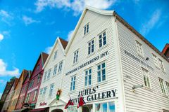 BERGEN, NORWAY - AUGUST 2017: Facades of the colorful wooden houses in Bergen. Famous colored houses and street in Bergen Norway -. Facades of the colorful Stock Photos
