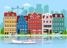Facades of cute european old buildings. Detailed graphic houses set. Old town, water reflection and boat. Flat style vector illustration Stock Photo